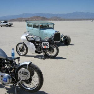 Picture   El Mirage 2007  '46 350 BSA, my Norton and Jim's '29A sedan