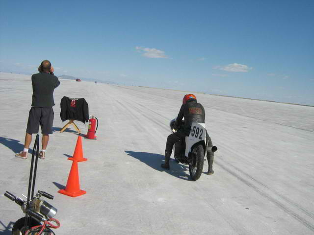 Picture 1 049  Leaving the line with the Norton at Bonneville 2008.